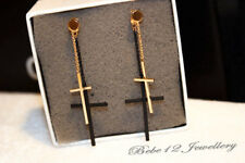Simple/Double Cross Dangling Earring/Rose gold/Black/RGE714