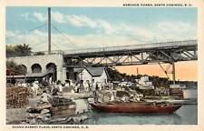 SANTO DOMINGO, DOMINICAN REPUBLIC, OZAMA MARKET PLACE, PEOPLE, BOATS, c 1915-30