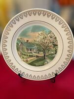Vintage CURRIER & IVES Victorian Farm Spring Scenic Ceramic Plate