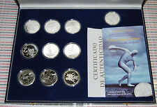Serie 7 IBEROAMERICANA VII 2008 Olympic Sports 9 Silver Coins + 1 Silber Medal
