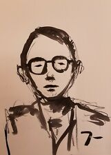 JOSE TRUJILLO - Portrait Man Eye Glasses ABSTRACT EXPRESSIONIST INK WASH 18X24