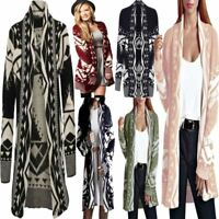 Ladies Aztec Print Open Knitted Long Sleeve Cardigan Women Winter Jumper Top Lot