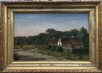 Painter of the 19. Century - AE Monogram 1870? Denmark - Old Houses 39 x 55