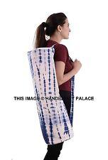 Indian Tie Dye Shibori Indigo Blue Yoga Bag Cotton Stripe Designs Tote Gym Bag