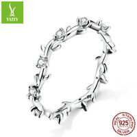 Authentic 925 Sterling Silver Branch Rings For Fashion Women Girls Lady Jewelry