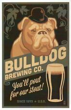 Bulldog Brewing Co., Retro Stout Beer Ad, Dog with Hat, USA --- Modern Postcard