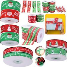 Happy Merry Christmas Ribbons Snowflakes Grosgrain Xmas Gifts Wrapping Ribbons