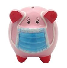 Sparschwein rosa mit Maske Mundschutz Mundnasenbdeckung  16 cm