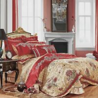 Silk Cotton Satin Luxury Jacquard Bedding Set Duvet cover Pillowcase Queen King