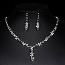 Silver Diamante Jewellery Necklace Earrings Set Wedding Bride Prom Party Jewelry