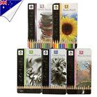 12Pcs Studio Charcoal Graded Watercolor Metallic Pencils Tin For Sketch Artist