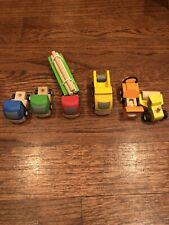 7 Piece Wooden Small Truck/Tractor Play Set By Plan City