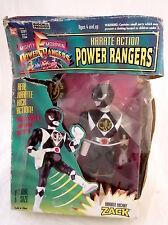 BANDAI '94 POWER RANGERS KARATE ACTION ZACK BLACK RANGER KARATE KICKIN 20 CM.NEW