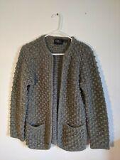 LeRoy Knitwear Women's Gray Textured Bubble Sweater Cardigan Size M Wool