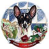 Toy Fox Terrier Black Tri Dog Porcelain Ornament 'Santa. I Can Explain!'
