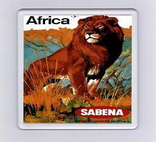 Vintage Air Travel Poster Drink Coaster - Africa, Lion, Sabena Airlines