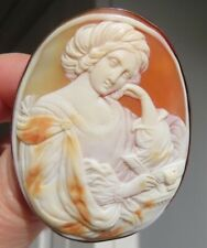 Antique Shell Cameo Gold Brooch of Sybil