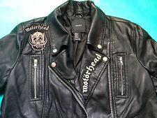 Motorhead Black Faux Leather Girls' Biker Motorcycle Jacket Punk Metal Vegan