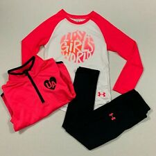 Under Armour Size 5 6 NWT Girls Track Suit Top 1/4 Zip Jacket Leggings Outfit