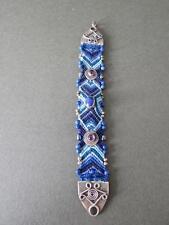 Vintage Solid Sterling Silver Bracelet Lapis Lazuli & Amethyst