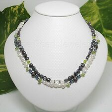 Black & White Cultured Pearl Peridot Glass Crystal Silver 925 Clasp Necklace TPJ