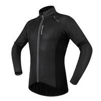 Mens Winter Cycling Fleece Thermal PU Leather Jacket Windproof Bike Coat Jersey
