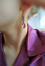 GENUINE AMETHYST 14k SOLID GOLD TANZANITE PINK TOURMALINE BRIOLETTE GEM Earrings