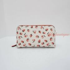 NWT New Coach F23680 Cosmetic Case 22 Makeup Pouch Bag Canvas Fruit Chalk Multi