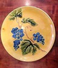 VBS Art Nouveau Decorative Plate Charger Gorgeous Colors Raised Grapes Leaves