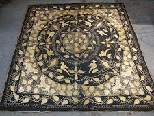 Antique Turkish Ottoman Islamic embroidery c. 1800 silver on wool 66 x 62 in
