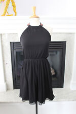 ZARA TRAFALUC Black  Chiffon Halter Dress Beaded Neck Feminine Sexy  Dress S