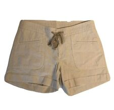 The North Face Womens Wander Free Shorts Size 2 Dune Beige Stripe Drawstring NWT