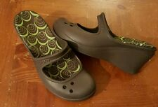 Crocs 8W Frances Wedges Shoes Clogs Mules Brown Slip On Mary Jane Francis