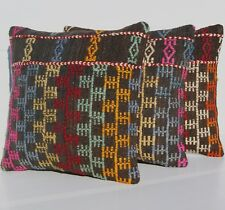 "Embroidered Pillow Covers 16"" Kelim Rug Square Wool Turkish Hand Woven Area Rugs"