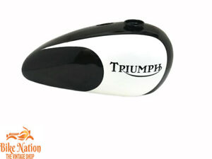 TRIUMPH T140 BLACK & WHITE PAINTED GAS FUEL TANK WITH CAP Fit For