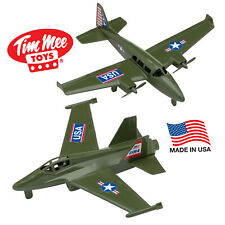 TimMee Prop Plane & Super Hornet Fighter Jet Green Plastic Army Men Airplanes