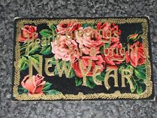 HEARTY GREETINGS  FOR A NEW YEAR    GOLD EMBOSSED    POSTCARD   VINTAGE   VGC