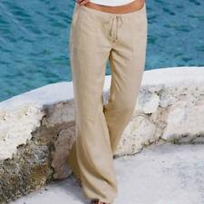 US Women Linen Casual Trousers Long Pants Holiday Beach Wide Leg Chino Palazzo