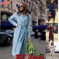 Women Winter Trench Warm Wool Lapel Parka Coat Jacket Outwear Long Slim Overcoat