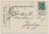 ÖSTERREICH 1902 5h 'S.S.' PERFIN! (mit Lack) KARTE, PRAG nach GRÜNURG.