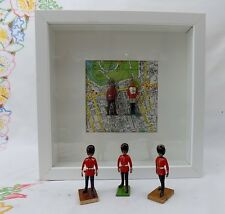Soldier - Vintage Shabby Chic Framed Lead Toy Soldiers on Map of London