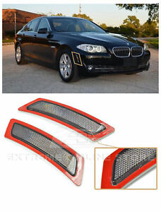 For 11-13 BMW F10 5-Series SMOKE Front Bumper Reflector Side Marker Lights Lamps