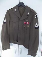 US WWII uniforme chaqueta m-1944 infantería top con insignia original cosidos medallas.