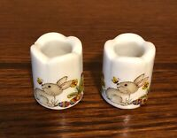 Two Collectible  Matching Easter Bunny Ceramic or Porcelain Thimbles