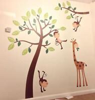 Kids Wall Stickers Nursery Children Decals Monkey Tree Giraffe Jungle Wall Art
