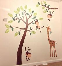 Monkey Tree Giraffe Jungle Nursery Wall Art Stickers, Wall Decals, Wall Graphics