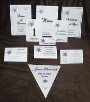 Personalised Winter Snowflake Design Wedding Stationery various colours