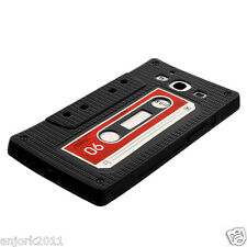 SAMSUNG GALAXY SIII 3 GS3 SILICONE SKIN CASE COVER RETRO CASSETTE BLACK
