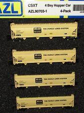 Z scale AZL - 4 Pack  4 Bay  Hopper -  CSXT Railway -   90703-1