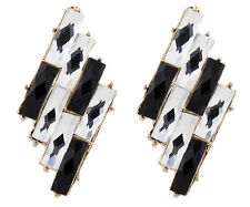 Clip On Earrings - gold luxury earrings with black & clear crystals - Barbara